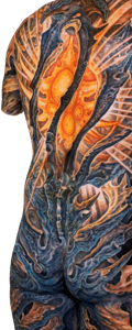 A model of a man's back, covered in an abstract, brightly colored tattoo with an orange sunburst shape at the center