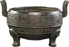 Bronze Tripod Ding Vessel on exhibit at The Field Museum