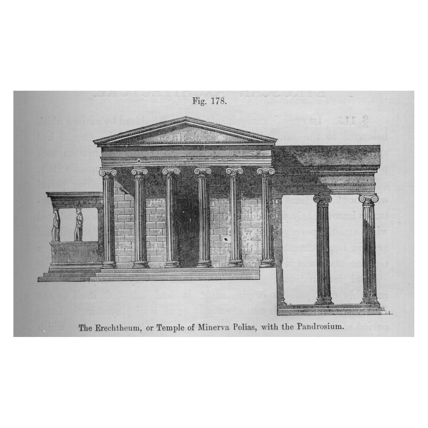 An architectural rendering of the Erechtheum in Athens, which provided inspiration for the ionic columns, caryatid porches and overall design of the Field Museum. From the 1809 book A Handbook of Architectural Styles.
