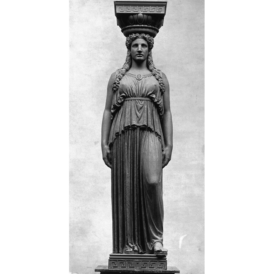 Female Caryatid statue with her left knee bent. Shown prior to installation on The Field Museum building exterior. Sculptor, Henry Hering.
