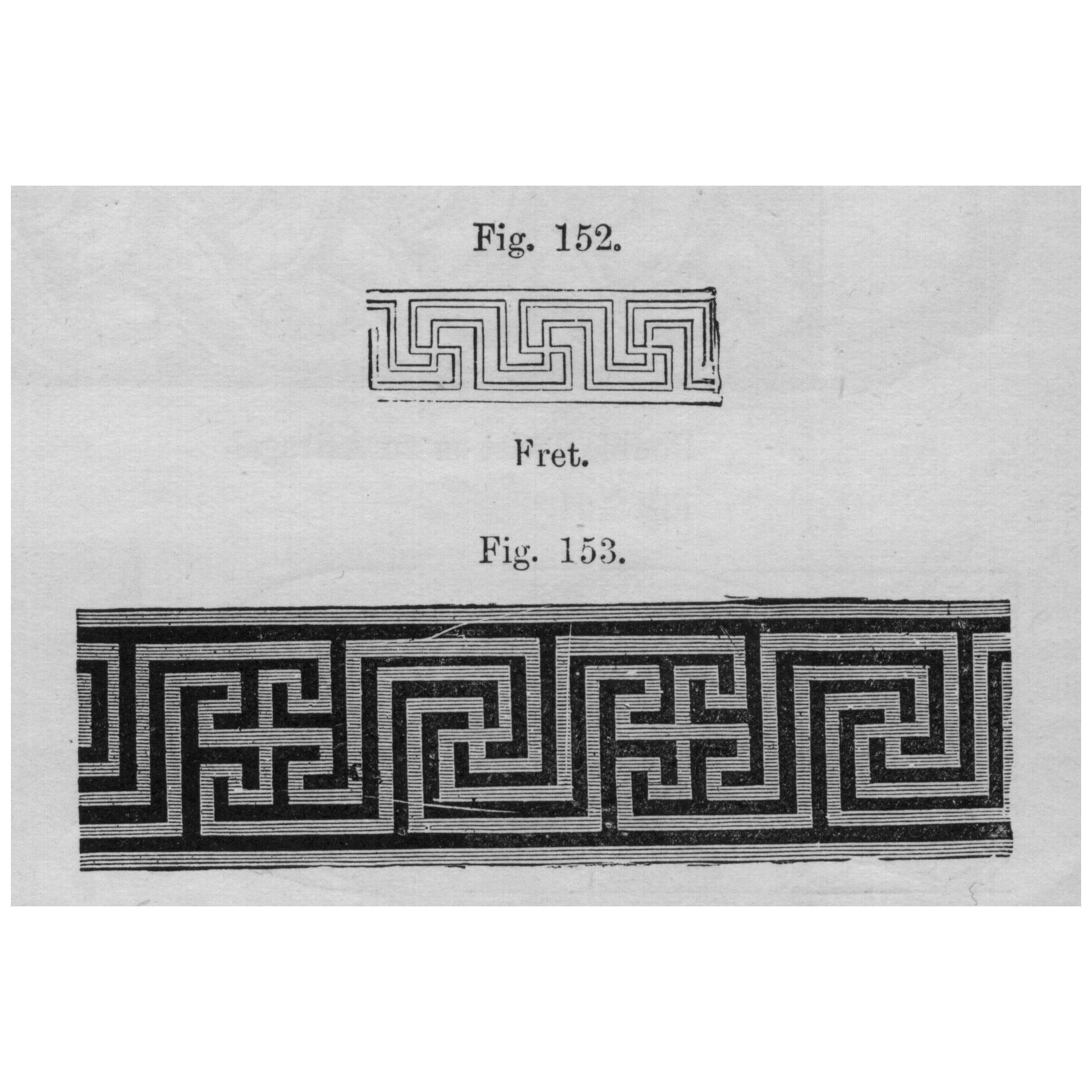 An architectural rendering of a Greek fret, also called a meander, is a decorative border created from one continuous line forming a repetitive pattern.