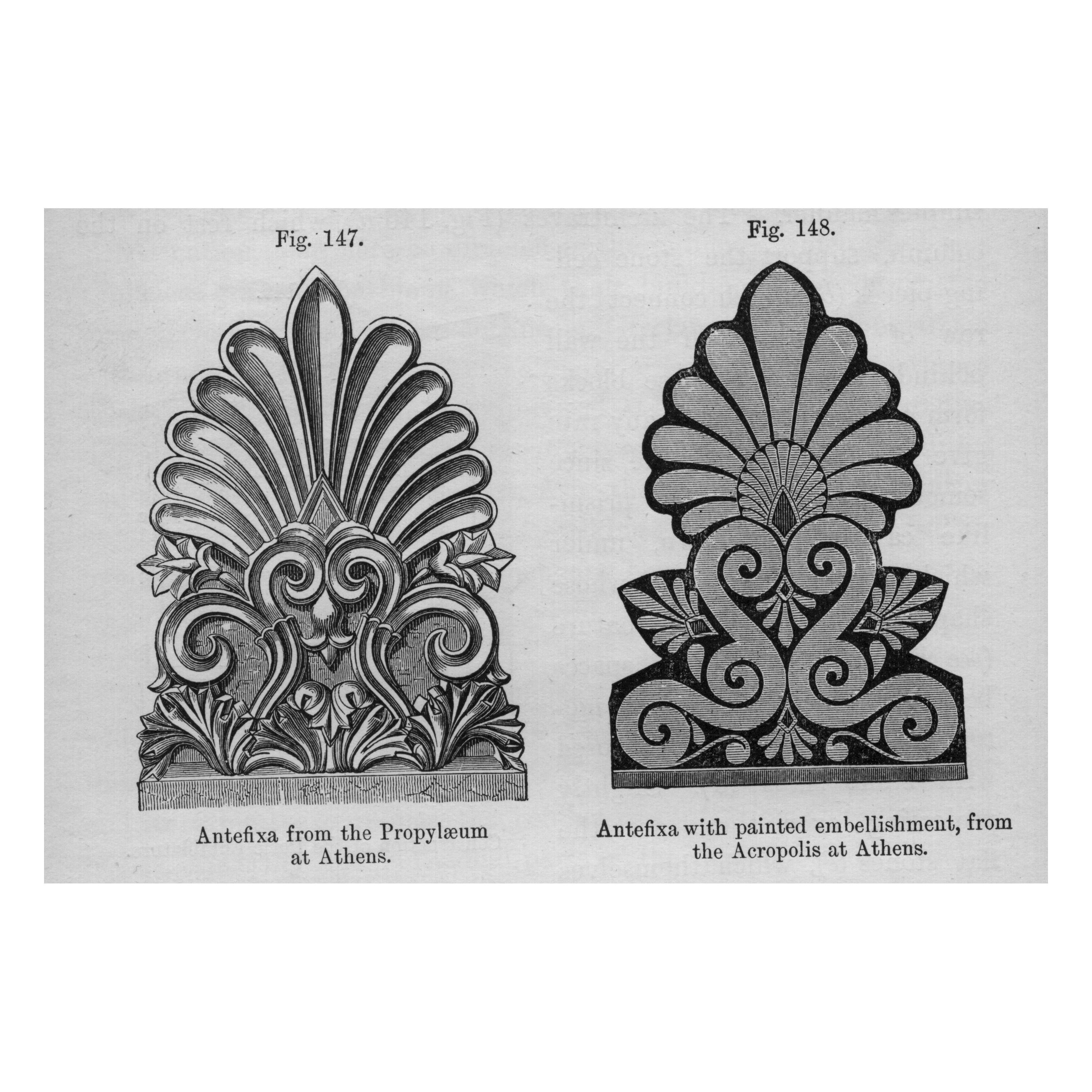 Architectural rendering of Antefix, vertical decorations used to cover the end of roof tiling, often used in Grecian temples.