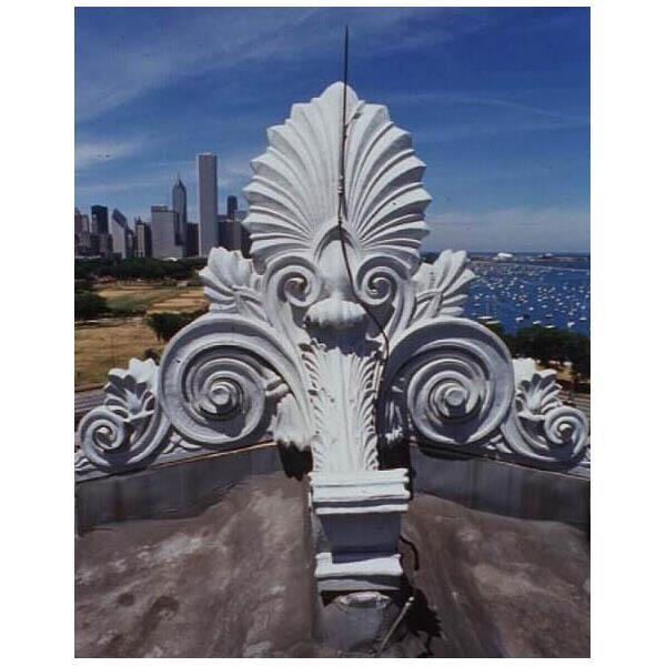 Architectural ornament, called Antefixa, on the roof of The Field Museum, view looking north, taken from the roof.