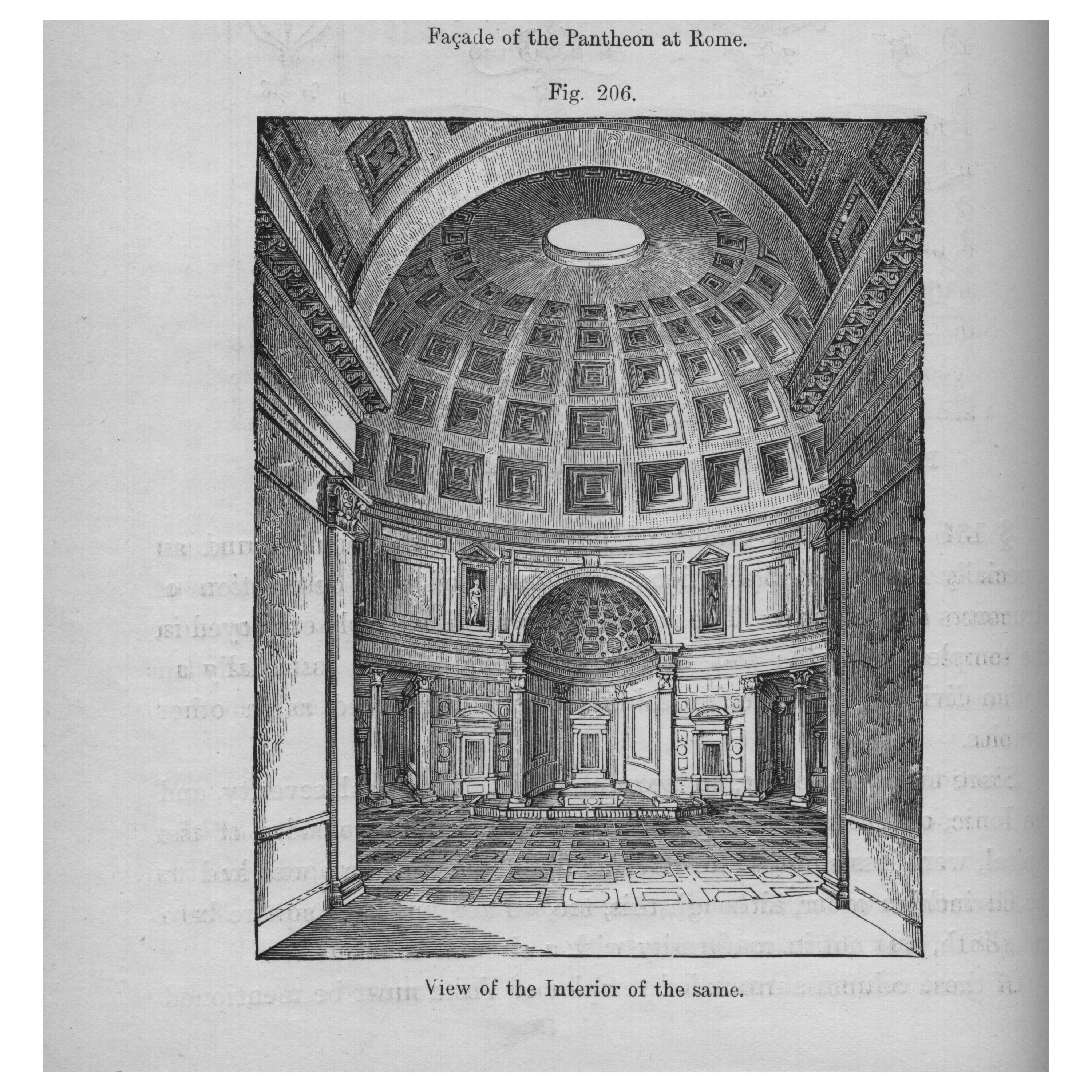 An architectural rendering of the apse from the Pantheon at Rome, with its coffered panel ceiling and intricate details, inspired the apse located at the north end of Stanley Field Hall. From A Handbook of Architectural Styles, 1809.