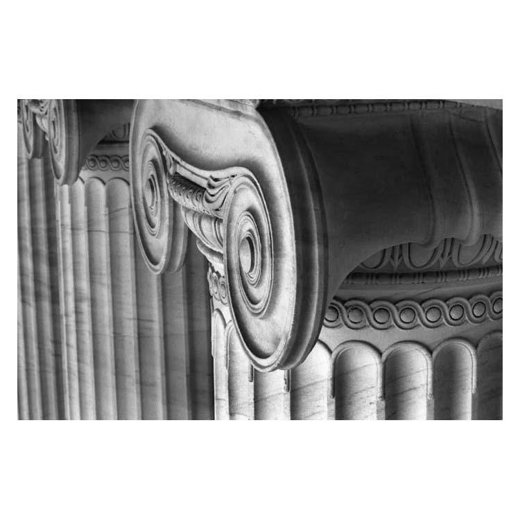 A photo of the top detail of an Ionic column at the north facade of The Field Museum.