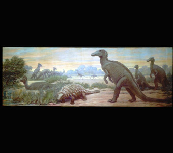 A variety of dinosaurs, including helmet-crested Corythosaurus, submerged in water, a herd of long-crested Parasaurolophus, heavily armored Palaeoscincus, ostrichlike Struthiomimus, and flat-headed hadrosaur Edmontosaurus, around a watering hole.