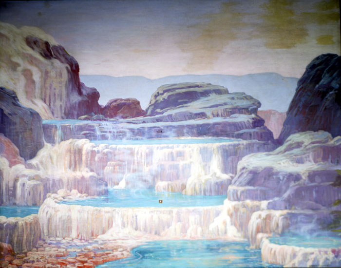 A Charles Knight depiction of a landscape similar to hot springs of today, with water flowing over layers of rock and pooling at each level.