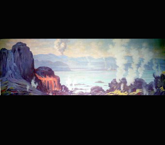 A Charles Knight mural depicting Earth before lifer began, a barren, rocky landscape, with volcanic activity surrounding a vast sea.