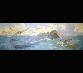 This Charles Knight mural portrays flying and swimming reptiles, including a giant swimming lizard, Tylosaurus lunging out of the sea at a giant turtle, Protostega. Several flying Pteranodon fly and swoop in the sky above the surface of the sea.