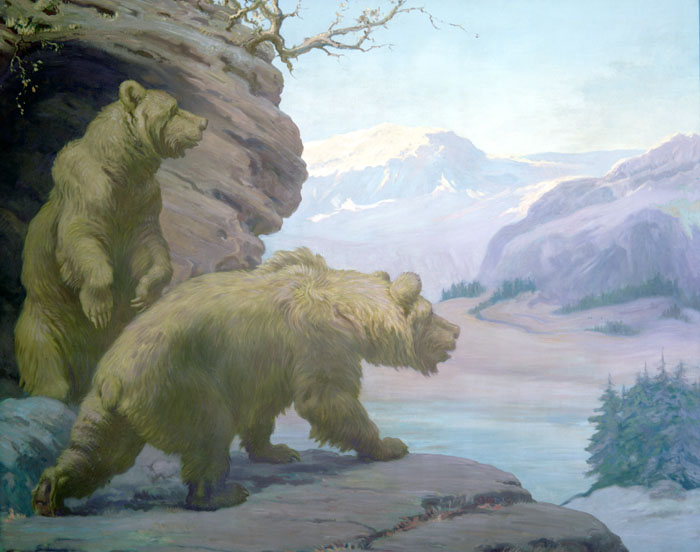 Two Cave bears emerge from their cave and over look a rocky landscape.