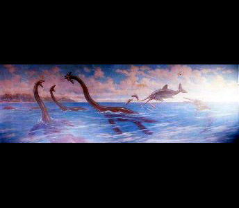 Three Plesiosaurus break the surface of a sea, one holding a fish in its mouth, while the others face off, open-mouthed. Two Stenopterygius, fish-shaped ichthyosaurs, leap out of the water with several smaller prehistoric fish, beneath a cloud dotted sky.