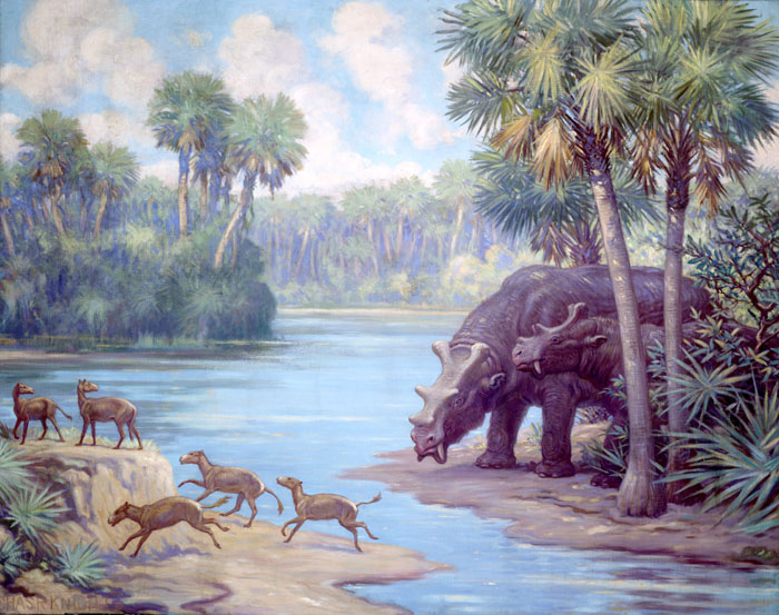 Several small, four toed horses frolick along a water source, across from two much larger, but harmless Uintatherium. Surrounding them is a forest of palm trees and fern-like plants.