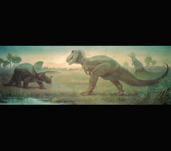 A Charles Knight mural depicting a Triceratops and T. rex as they face-off, while a second T. rex stands in the distance.
