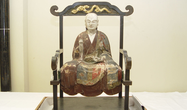 c.18th CE polychrome wood statue from Japan