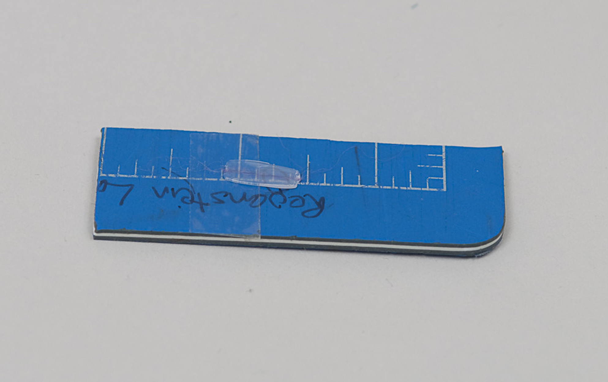 Polythene with embedded fiber, mounted on double-sided tape on a piece of self-healing cutting mat.