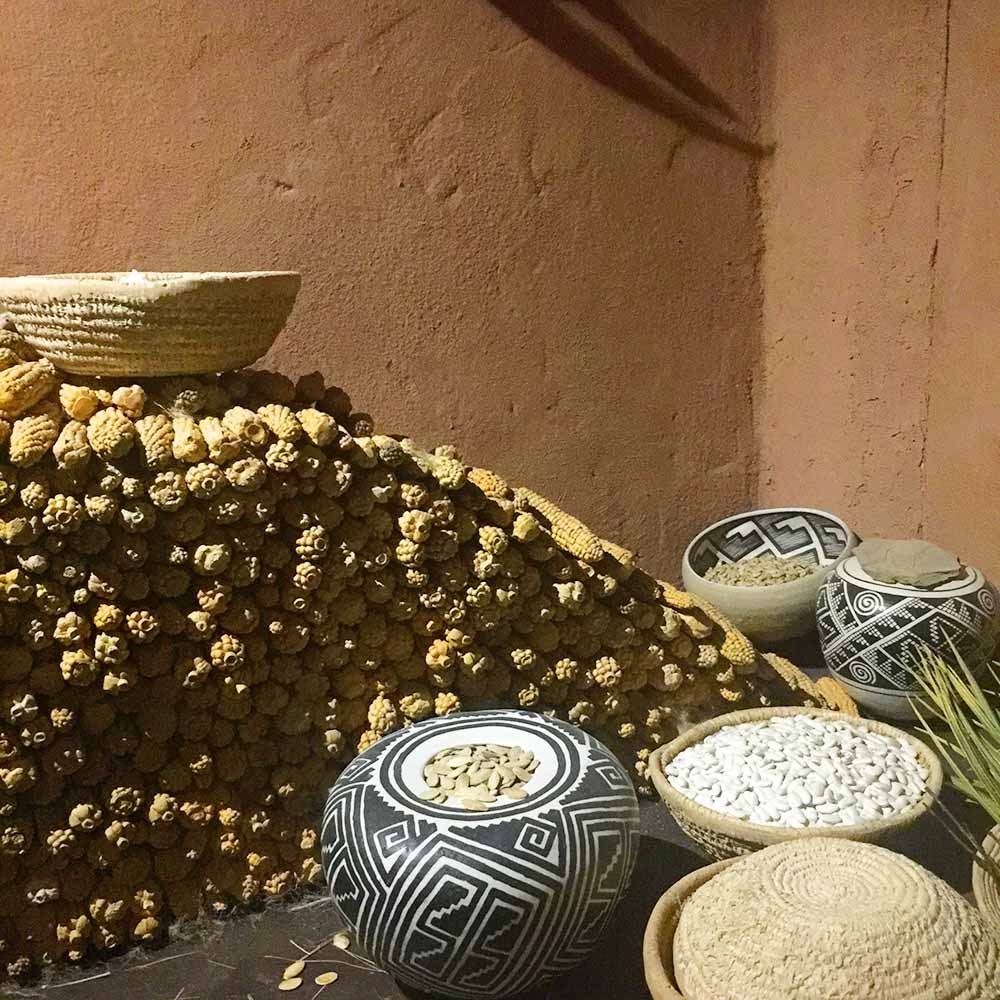 Display of corn, painted pottery, and woven baskets