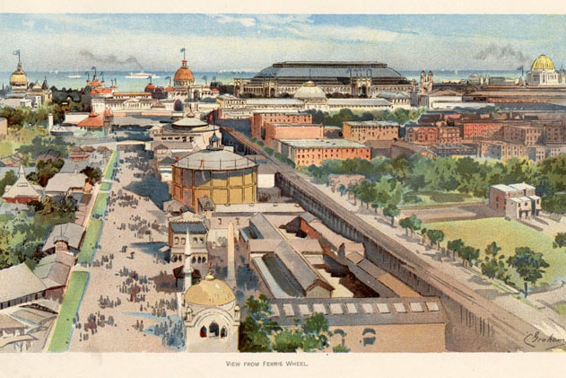 Colorfully painted postcard with an aerial view of the 1893 World's Fair. There are rows of different buildings, some with tall domes, and Lake Michigan is visible in the background. The caption reads,