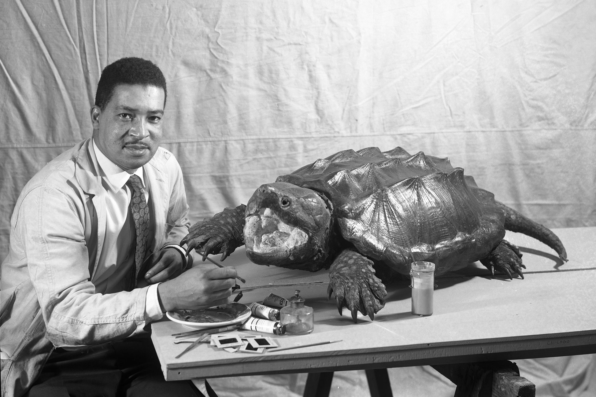Carl Cotton, holding a paintbrush, sits at a table with various art supplies and a large model of a turtle.