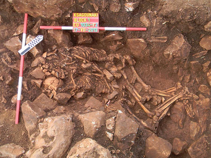 An archaeological site showing two skeletons embracing