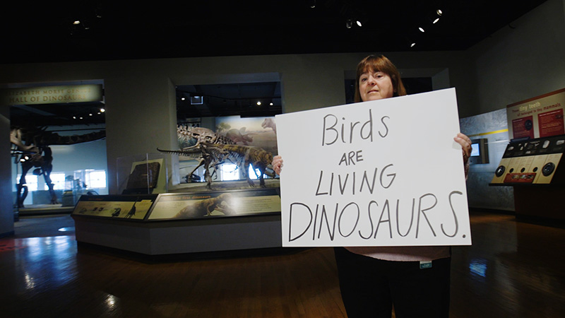A woman holding a handwritten sign in front of a large museum display of animal skeletons.