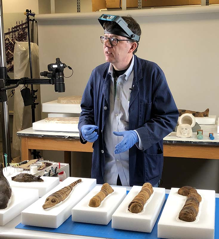 A man wearing a headset and gloves stands behind a table where a row of small animal mummies, wrapped in brown fabric, are lined up
