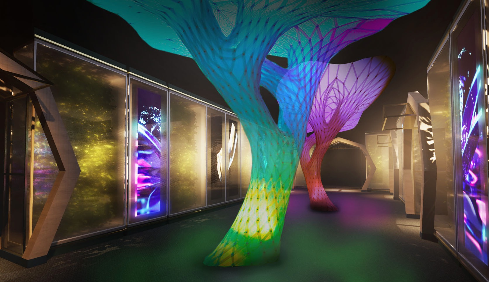 Two multicolored illuminated forms in the shape of trees.