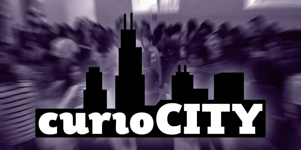 "The word ""curioCITY"" in black below an outline of buildings from the Chicago skyline is overlaid on a purple-toned background showing an out-of-focus group of teens."