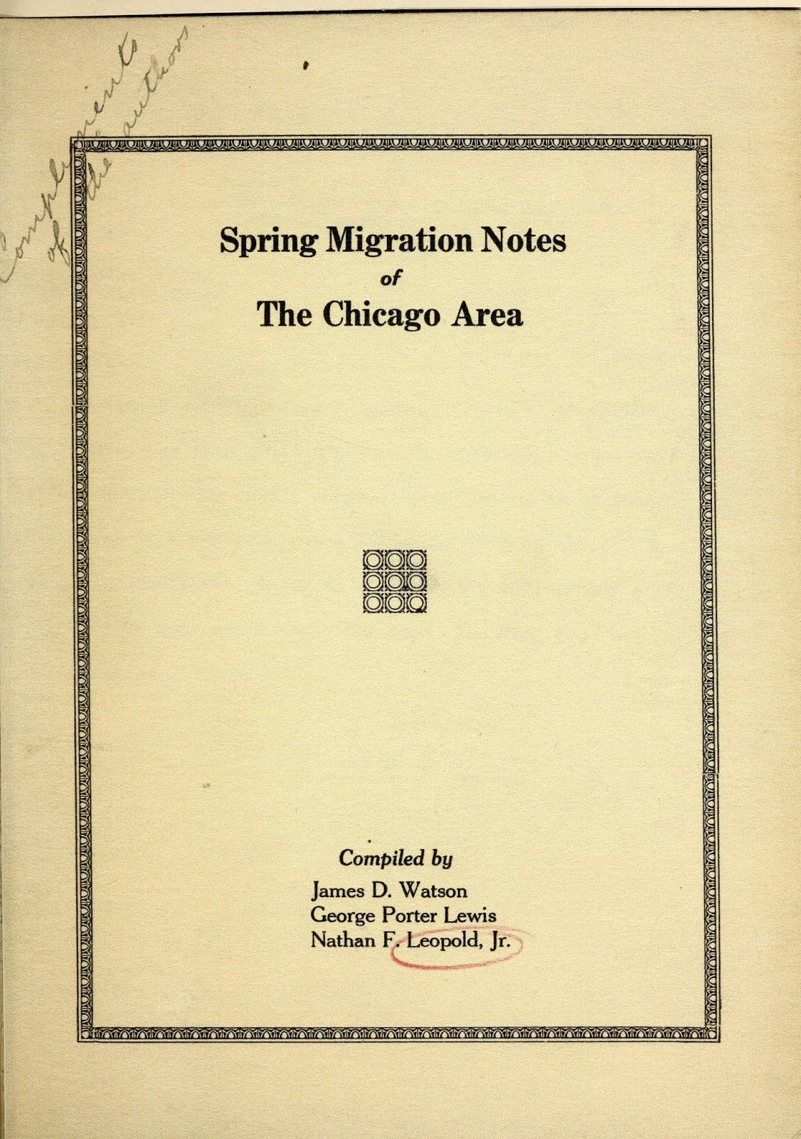 Yellowed paper with a book title and author information, and a decorative black border around the page