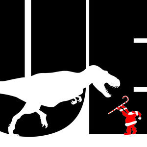"Large word ""SUE"" in black with a much smaller T.rex in front of the letters, and an even smaller Santa Claus holding a candy cane towards the dinosaur."