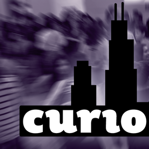 """The word """"curioCITY"""" in black below an outline of buildings from the Chicago skyline is overlaid on a purple-toned background showing an out-of-focus group of teens."""