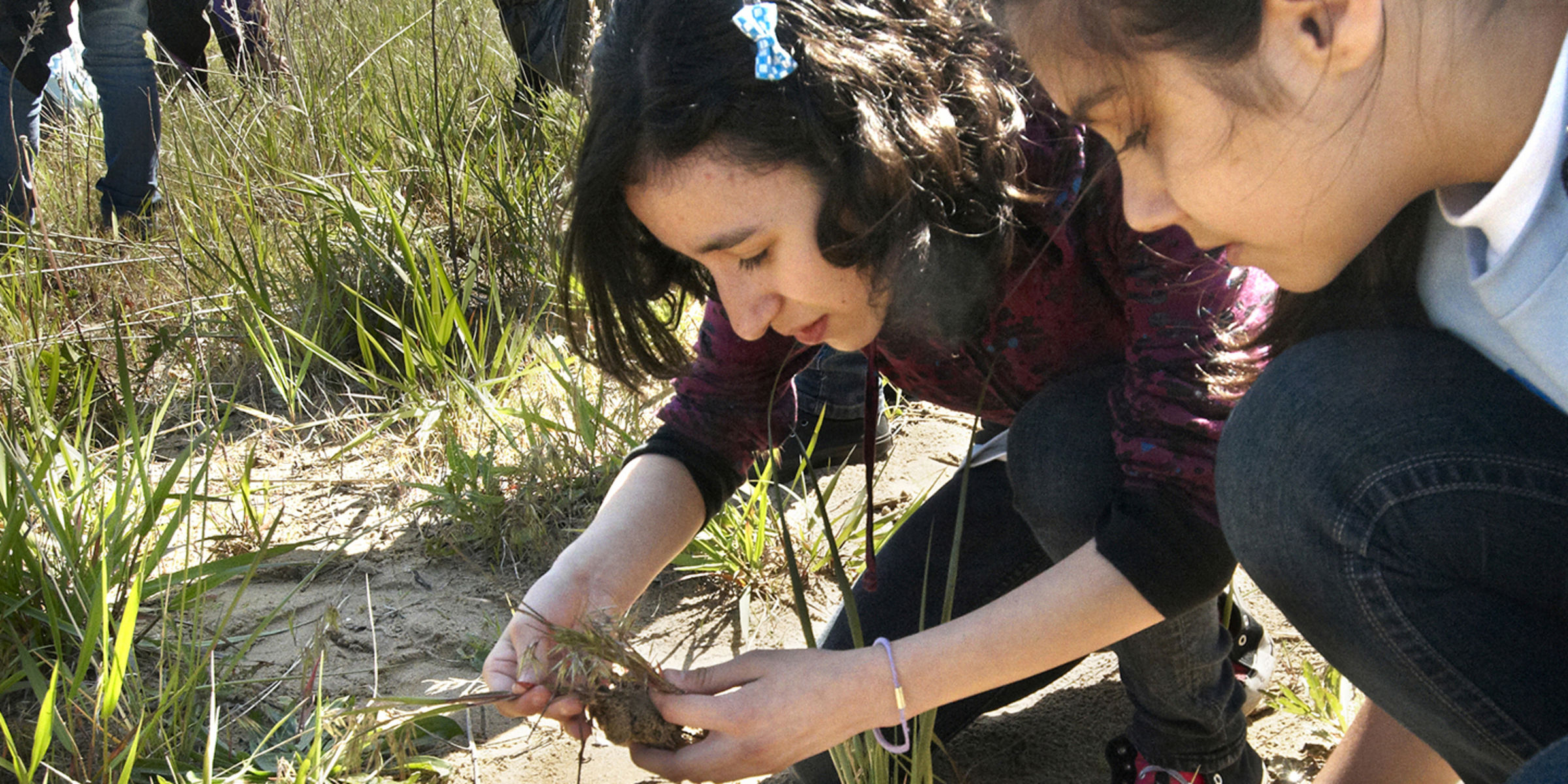 Two young girls crouch low near the ground to hold and observe plants. The girl in the back holds blades of grass between her two hands while the other looks on.