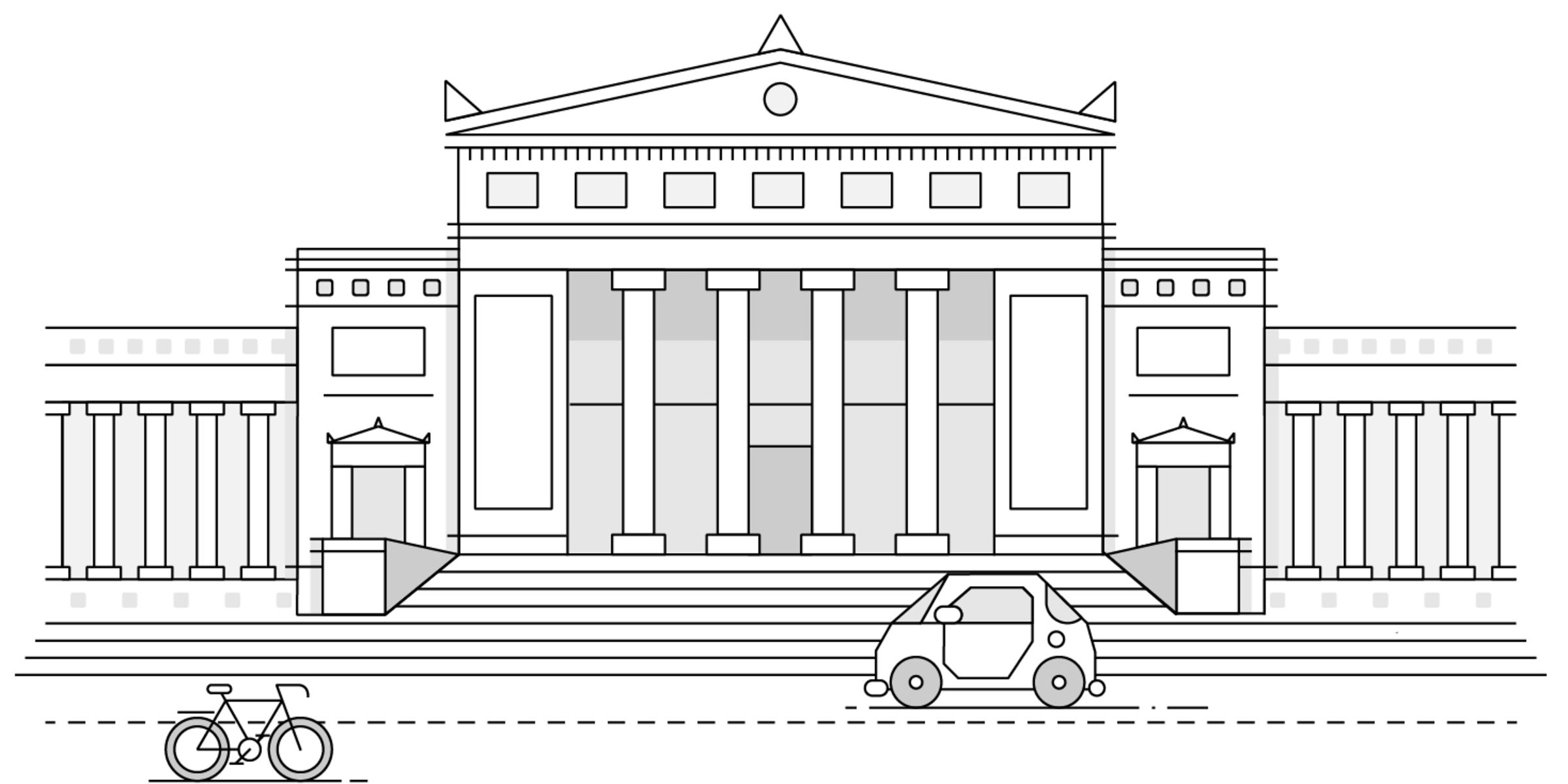 Illustration of the north side of the Field Museum building. Simplified line drawing with a taxi cab and bicycle on the street in front of the Field museum building.