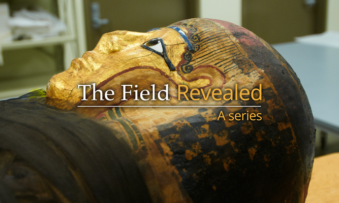 "Text reading ""The Field Revealed: A Series"" on top of a photo of an Egyptian sarcophagus."