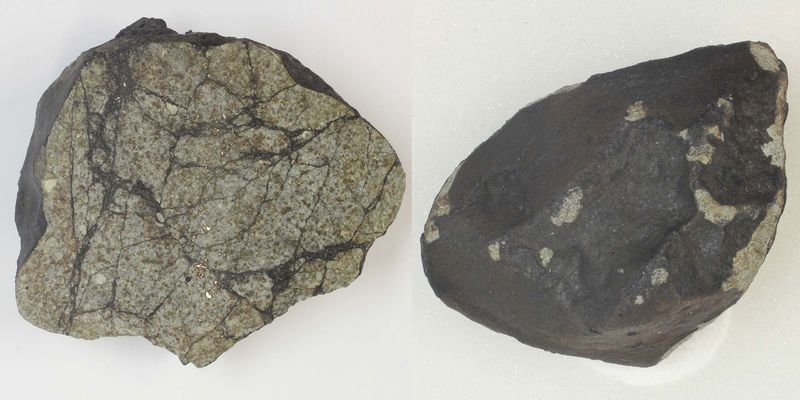Two images, one showing the outside of a rock and the other showing the cross section, which is speckled tan, black and gold