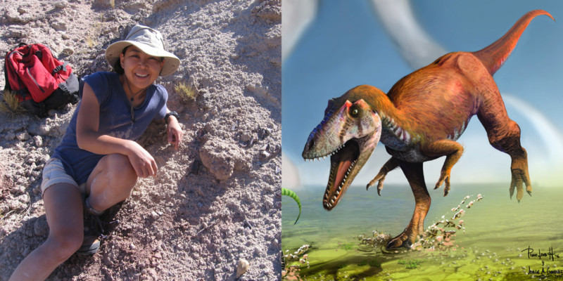A woman seated on a rocky hill, wearing a hat and smiling at the camera. Next to that, an illustration of a large orange dinosaur.