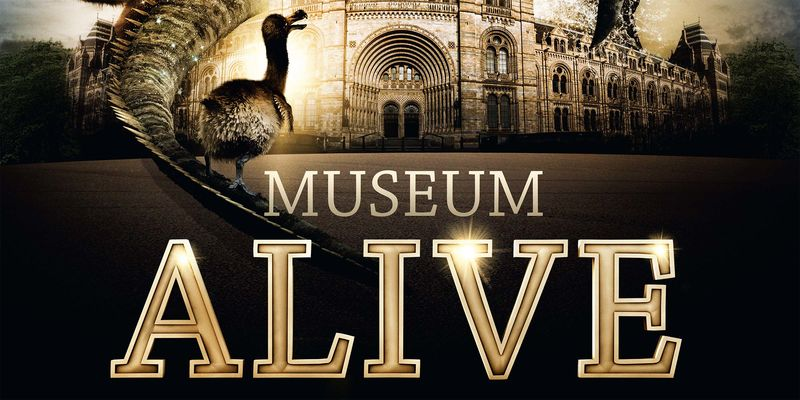 """Graphic of a small bird standing outside the entrance of a large, stately stone building with the words """"Museum Alive"""" underneath"""