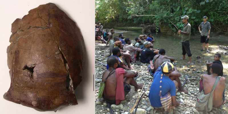 Left: a brown, cracked skull; right: a group of people sitting on the short of a river, with two people standing and addressing the group