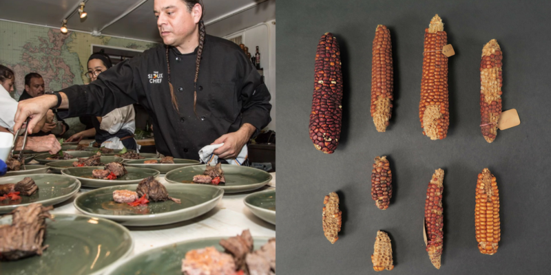 Two images, one of a man with braids in a chef's coat plating several identical dishes; and several cobs of corn of different colors laid out flat