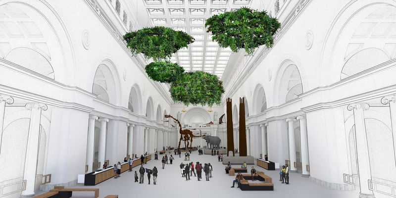 Rendering of the interior of a large, white classical building with large green gardens hanging from the ceiling