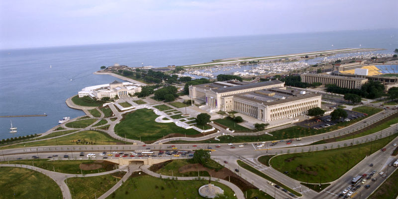 Aerial view of The Field Museum and Chicago's Museum Campus looking East