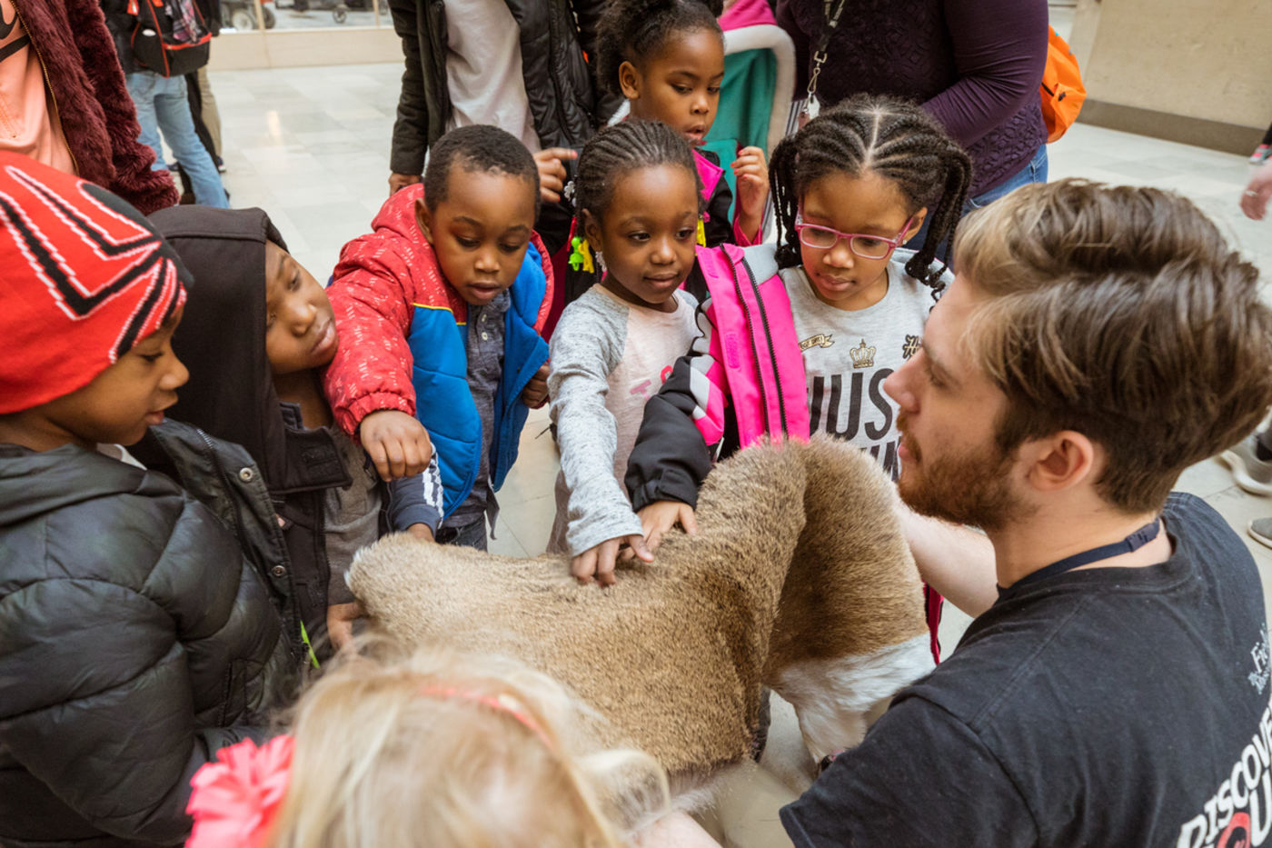 Preschoolers gather around a volunteer and touch a piece of fur he is holding.