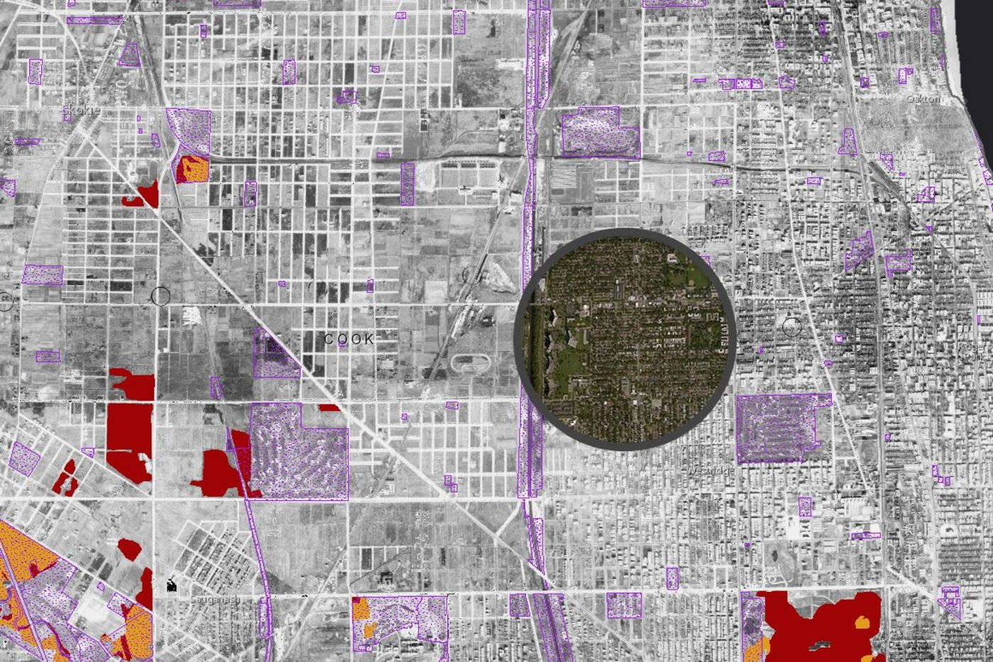 Map Showing 1939 Imagery Compared with Current Day and