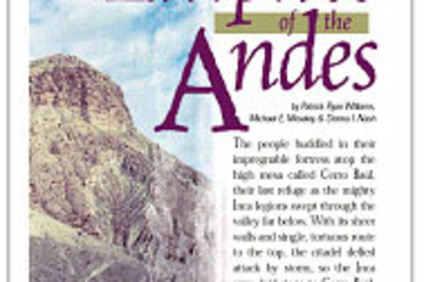 Article in the March/April 2000 issue of Scientific American Discovering Archaeology magazine