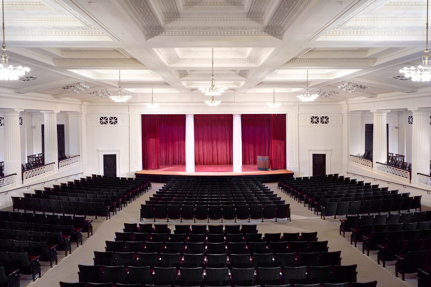 The James Simpson Theatre, from the rear looking towards the stage.