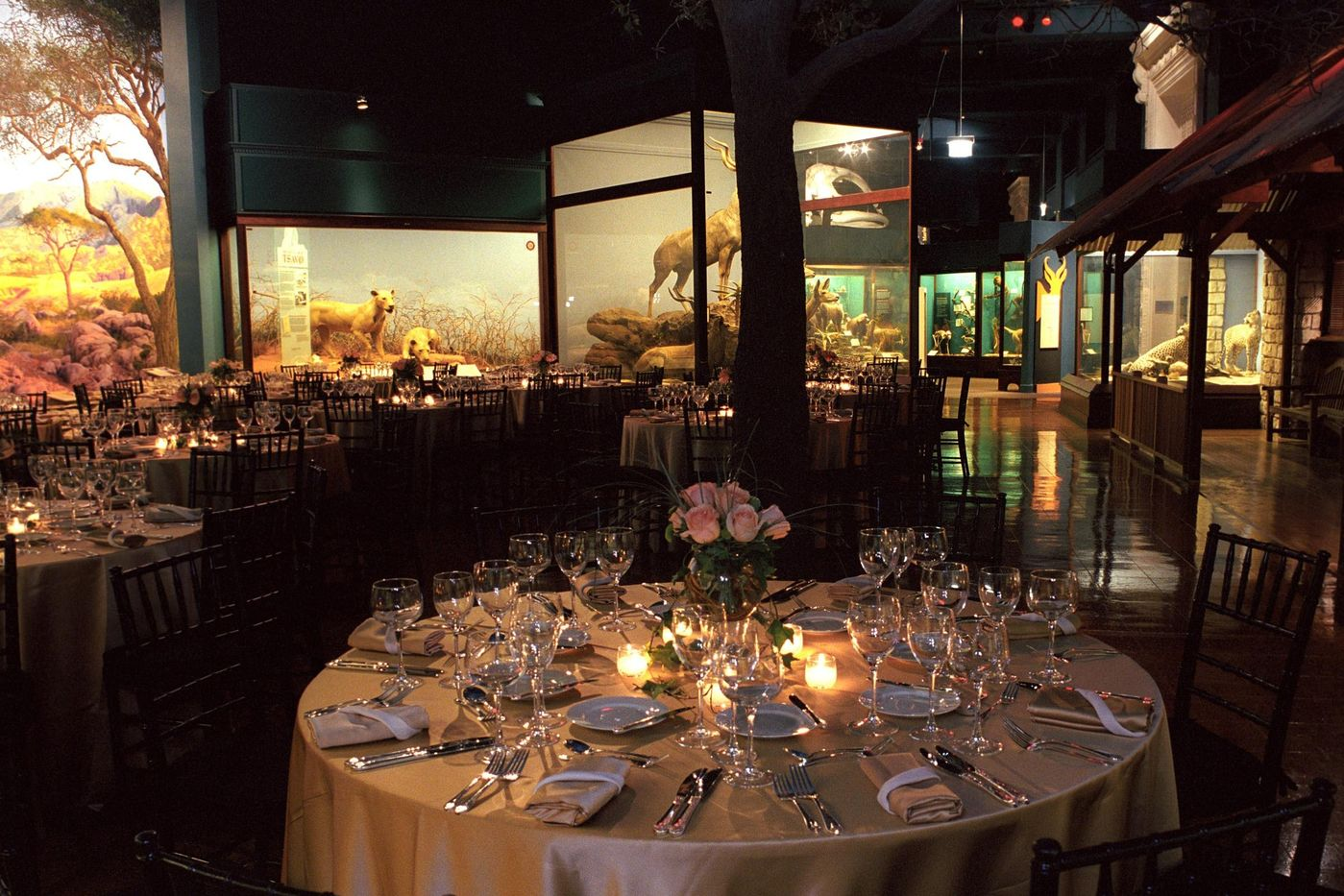 Tables, chairs and decor set up for a special event in the Rice Hall event space.
