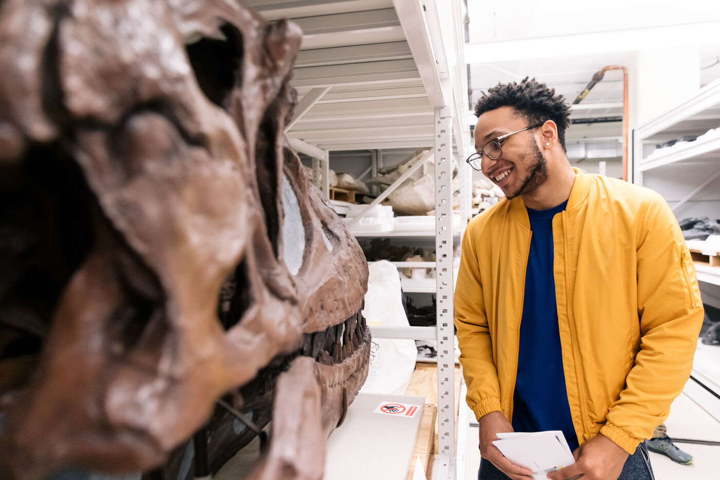 A visitor takes a close look at a fossilized skull. He stands beside the skull, between a row shelves containing other fossil specimens in the Field Museum's collection.