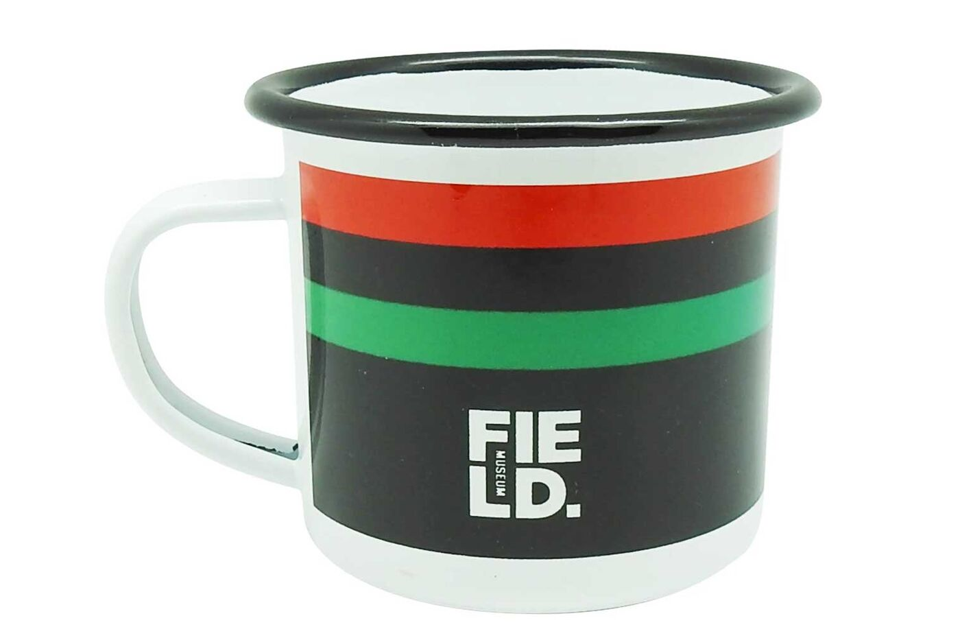 A metal camp mug featuring the Pan-African flag and the Field Museum logo.