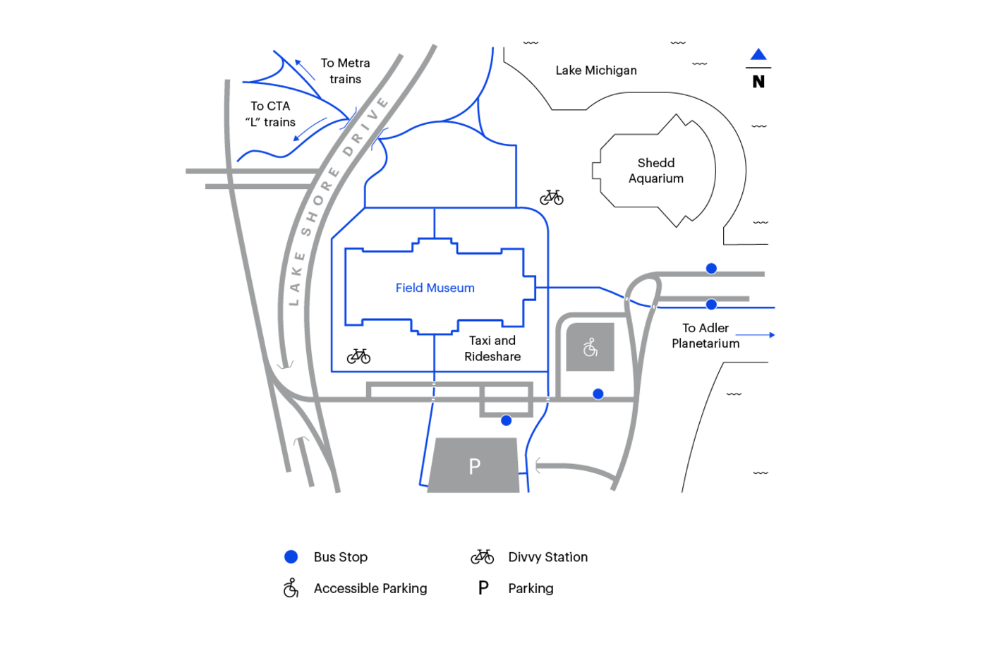 Map of Chicago's Museum Campus, showing the Field  Museum at the center and the Shedd Aquarium nearby. The map shows a place for taxi and rideshare pickups near the Museum's south entrance, and accessible parking on the southeast side of the Museum.