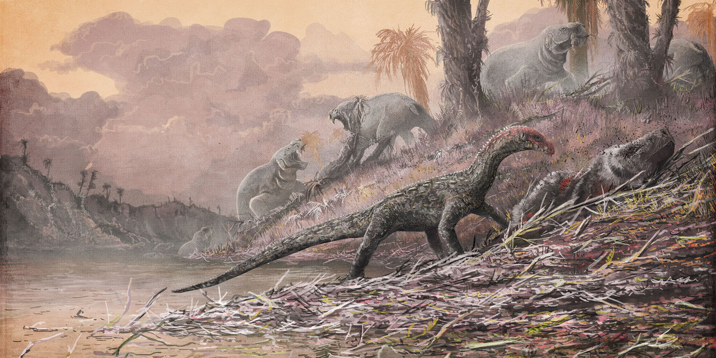Illustration of prehistoric animals in a wetland area, with a crocodile-like animal in the foreground