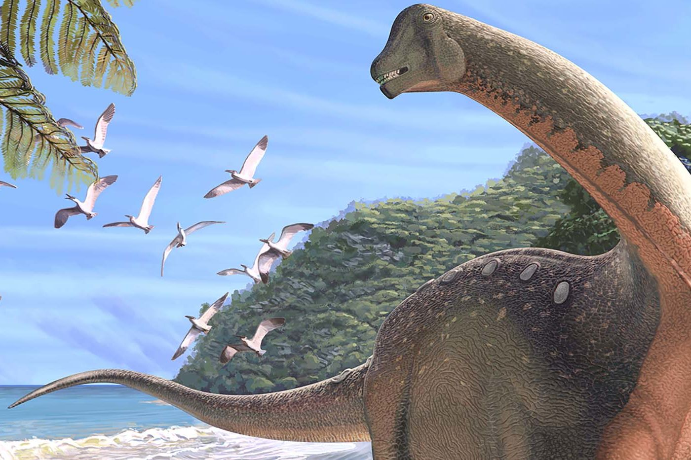 Illustration of a large, long-necked dinosaur on a tropical beach